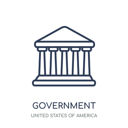 Government icon. Government linear symbol design from United states of america collection. Simple outline element vector illustration on white background. Çizim