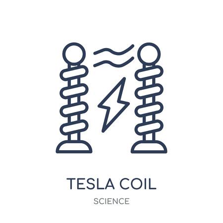 Tesla-Spulensymbol. Lineares Symboldesign der Tesla-Spule aus der Wissenschaftssammlung. Einfache Entwurfselementvektorillustration auf weißem Hintergrund.