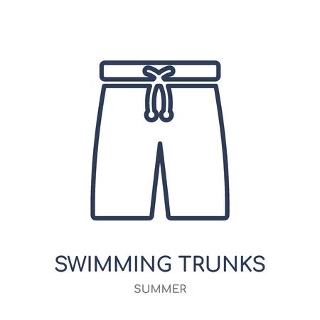 Badehose-Symbol. Lineares Symboldesign der Badehose aus der Sommerkollektion. Einfache Entwurfselementvektorillustration auf weißem Hintergrund.