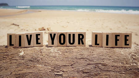 Motivational and inspirational quote - 'Live Your Life' written on wooden blocks. Blurred vintage styled background.