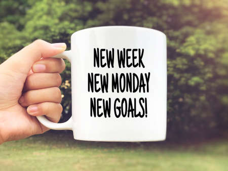 Motivational and inspirational quote - New Monday, New Week, New Goals. Blurred styled background. Stock Photo