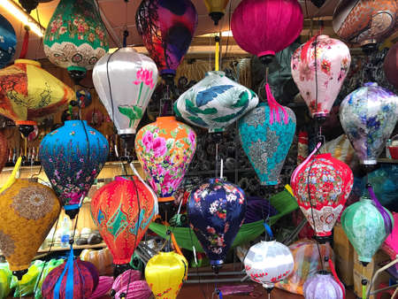 Beautiful and colorful lanterns hung up for sale in Hoi An, Danang, Vietnam.