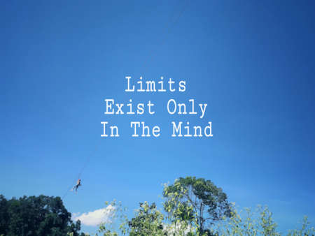 Motivational and inspirational wording - Limits Exist Only In The Mind. Blurred styled background. Stock Photo