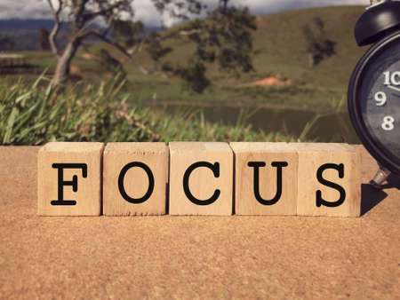 Motivational and inspirational word - FOCUS written on wooden blocks. Blurred styled background.