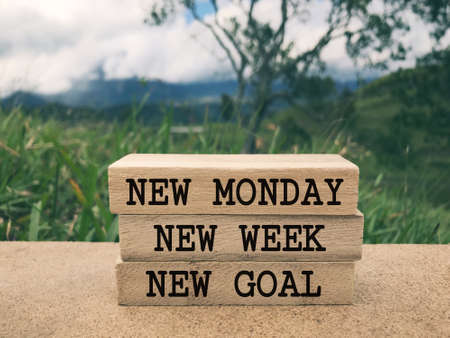 Motivational and inspirational wording - New Monday, New Week, New Goal written on wooden blocks. Blurred styled background.