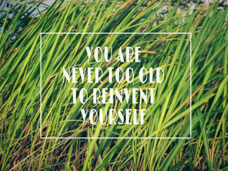 Motivational and inspirational wording - You Are Never Too Old To Reinvent Yourself. Blurred styled background.