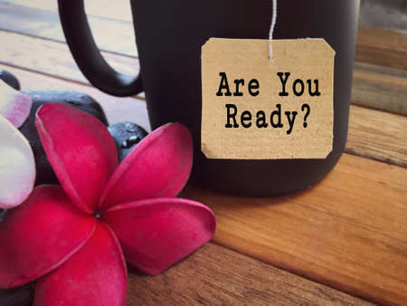Motivational and inspirational wording - Are You Ready? written on a paper. Foto de archivo - 131225178
