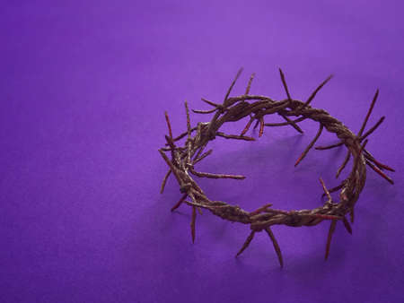 Good Friday, Lent Season and Holy Week concept - A woven crown of thorns on purple background. Stockfoto