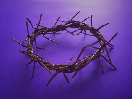 Good Friday, Palm Sunday, Ash Wednesday, Lent Season and Holy Week concept.  A woven crown of thorns on purple background.