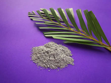Good Friday, Palm Sunday, Ash Wednesday, Lent Season and Holy Week concept. Ashes and palm leaves on purple background.