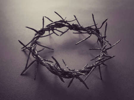 Good Friday, Lent Season and Holy Week concept - A woven crown of thorns on purple background.