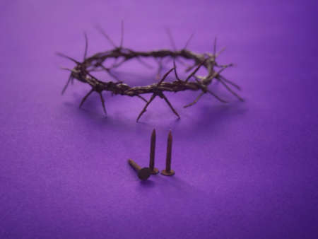 Good Friday, Lent Season and Holy Week concept - A woven crown of thorns on purple background. Archivio Fotografico