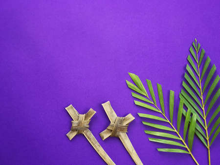 Good Friday, Lent Season, Ash Wednesday, Palm Sunday and Holy Week concept. Crosses made of palm leaves and palm leaves on purple background.