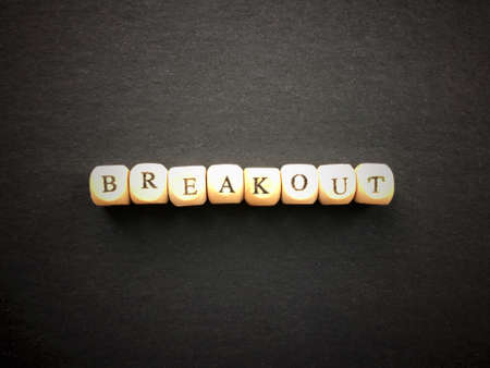 Conceptual word. BREAKOUT written on wooden blocks. Blurred styled background.