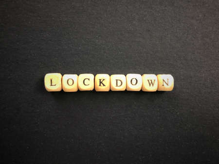 Public health and safety issues concept. LOCKDOWN written on wooden blocks. Blurred styled background.