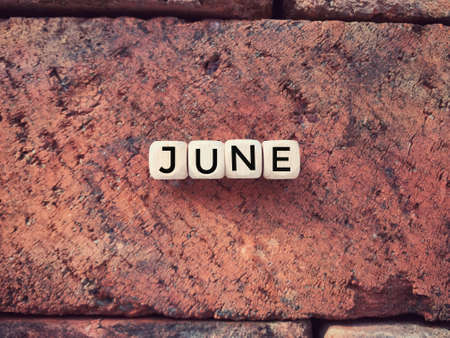 Time and month concept. JUNE written on wooden blocks. Vintage styled background.
