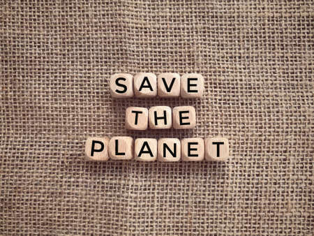 Environmental protection issues and awareness. SAVE THE PLANET written on wooden blocks.