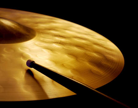 Cymbal and Drumstick Stock Photo