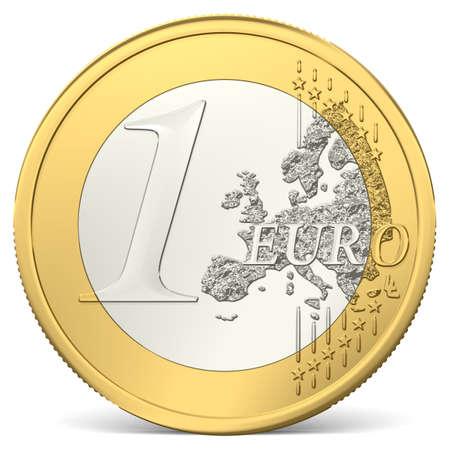 silver coins: one euro coin