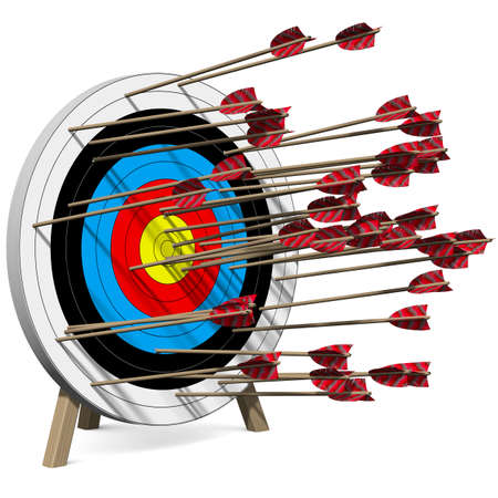 Many Arrows hit the Target Stock Photo