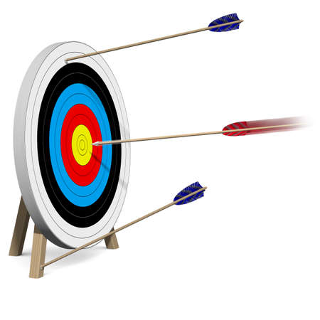 reached: Only one Arrow hits the Target Stock Photo