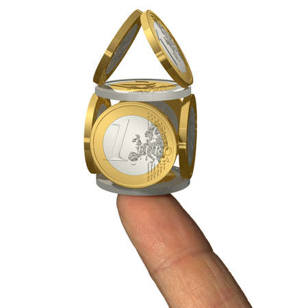finger tip: House build by Euro coins on finger tip Stock Photo