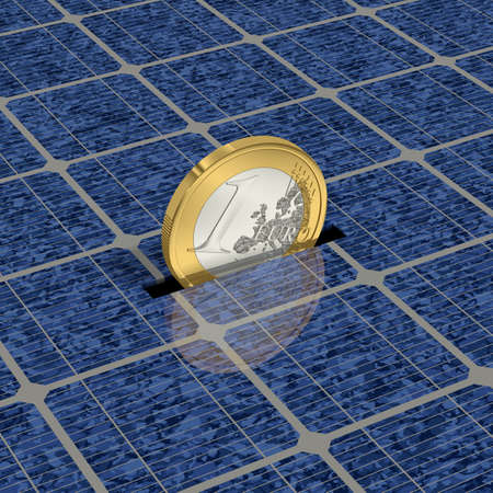 One Euro coin is saved with solar power