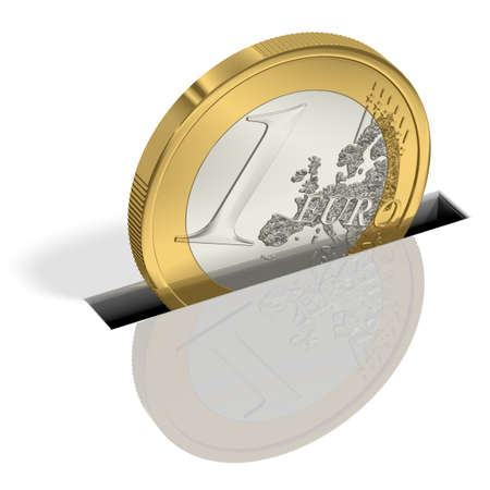 saved: One Euro coin is saved Stock Photo