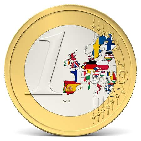 een euromunt met kleurrijke europa met vlaggen