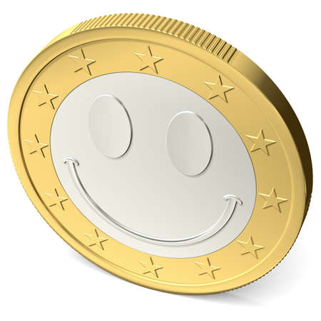 one euro coin with happy smiley