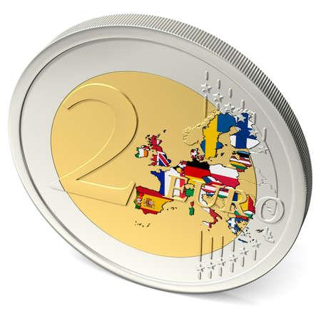 euro muntstuk twee met kleurrijke europa met vlaggen Stockfoto
