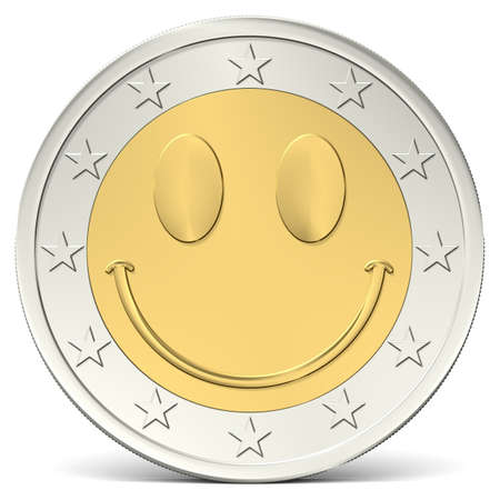 two euro coin with happy smiley