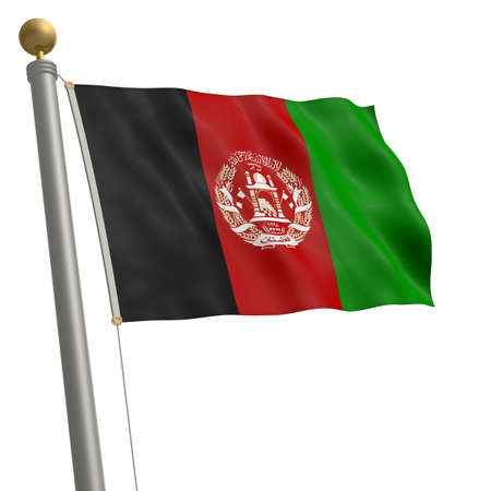 wafting: The flag of Afghanistan fluttering on flagpole Stock Photo