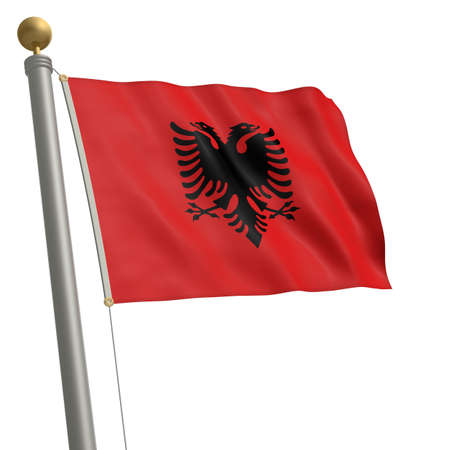 wafting: The flag of Albania fluttering on flagpole Stock Photo