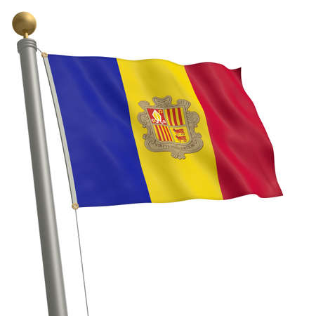 wafting: The flag of Andorra fluttering on flagpole