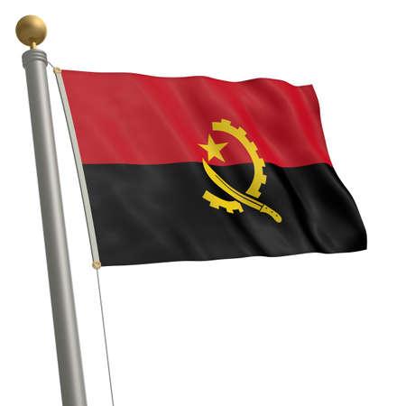 flagpole: The flag of Angola fluttering on flagpole Stock Photo
