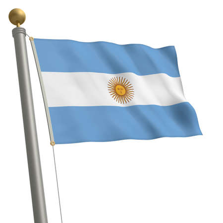 wafting: The flag of Argentina fluttering on flagpole