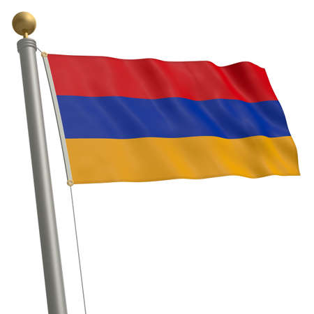 wafting: The flag of Armenia fluttering on flagpole