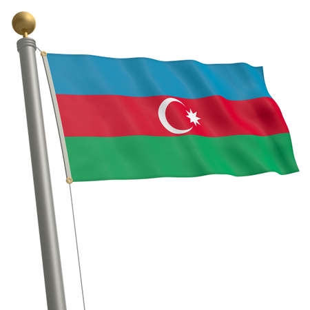 wafting: The flag of Azerbaijan fluttering on flagpole