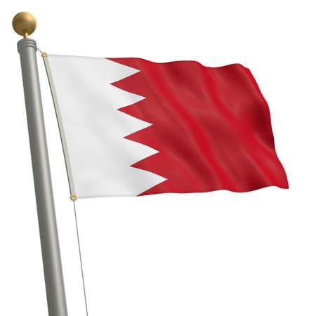 flagpole: The flag of Bahrain fluttering on flagpole