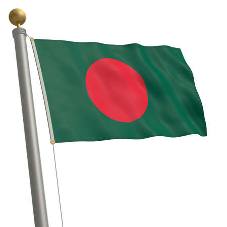 wafting: The flag of Bangladesh fluttering on flagpole