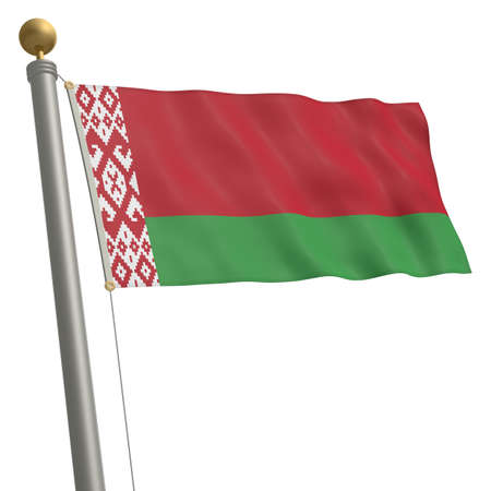 wafting: The flag of Belarus fluttering on flagpole