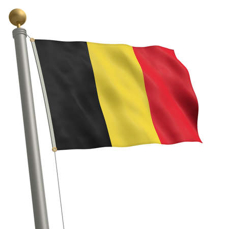 wafting: The flag of Belgium fluttering on flagpole