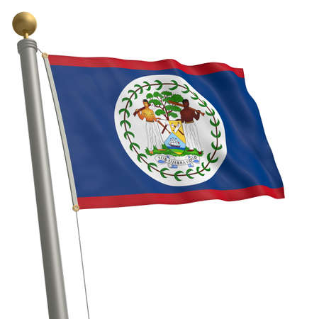 middle america: The flag of Belize fluttering on flagpole Stock Photo