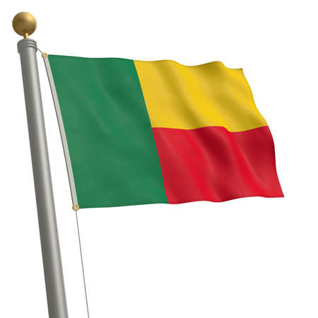 wafting: The flag of Benin fluttering on flagpole Stock Photo