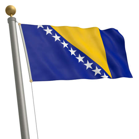 wafting: The flag of Bosnia and Herzegovina fluttering on flagpole