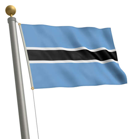 wafting: The flag of Botswana fluttering on flagpole