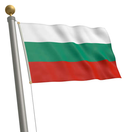 wafting: The flag of Bulgaria fluttering on flagpole