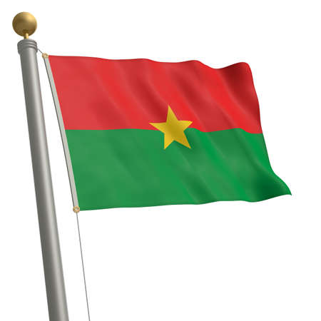 wafting: The flag of Burkina Faso fluttering on flagpole Stock Photo