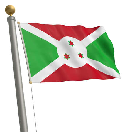 flagpole: The flag of Burundi fluttering on flagpole